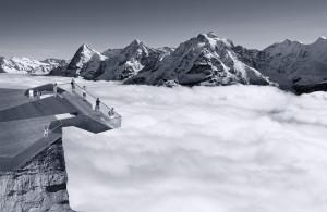 Slik blr dern nye plattformen i Schilthorn, med utsiklt over Alpene.