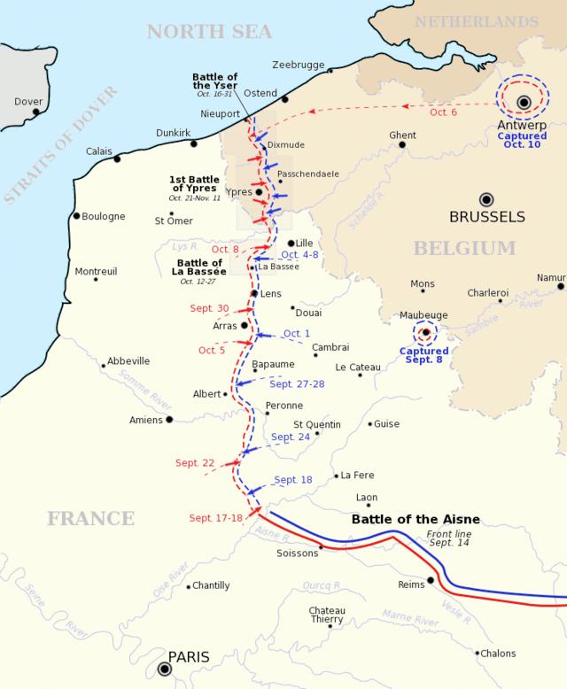 Tyskerne forsøkte utover høsten 1914 å bygge seg opp en sammenhengende front fra Sveits til Nieuwepoort. Dette kappløpet gikk gjennom det nordlige Frankrike og Belgia.