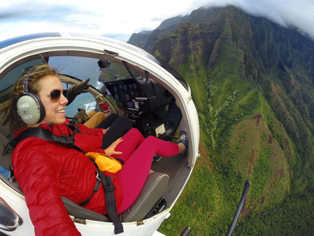 Hawaii fra utsiden av et helikopter. Foto: Kelly Ortel