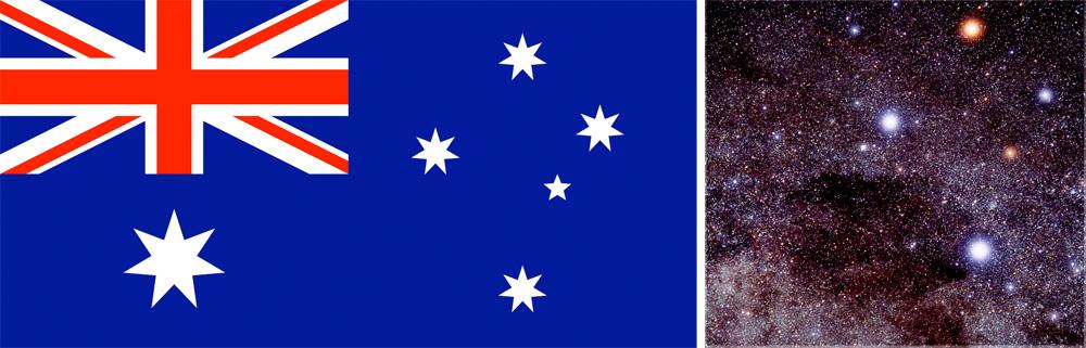 Sydkorset i det australske flagget og det virkelige sydkorset langt der ute i stjernevrimmelen.